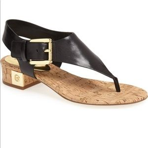 Michael Kors London Thong Sandal Black Leather 6.5